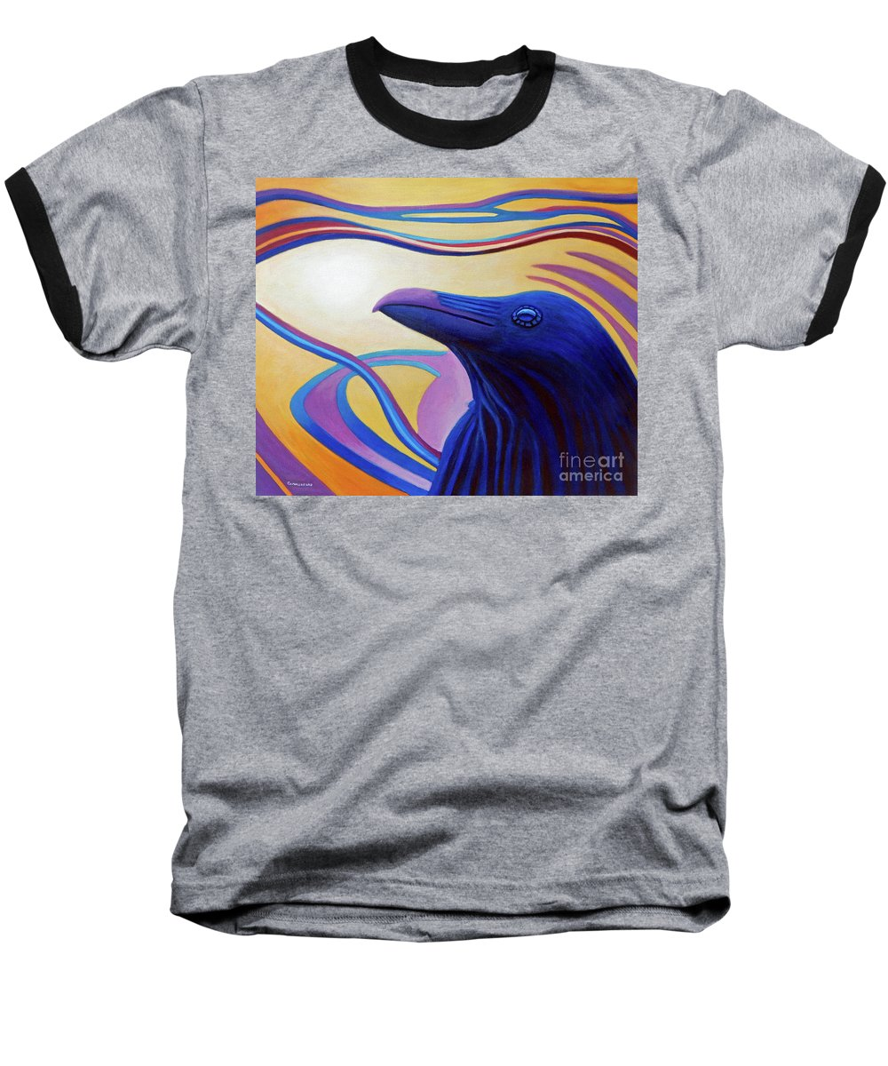 Raven Baseball T-Shirt featuring the painting Astral Raven by Brian Commerford