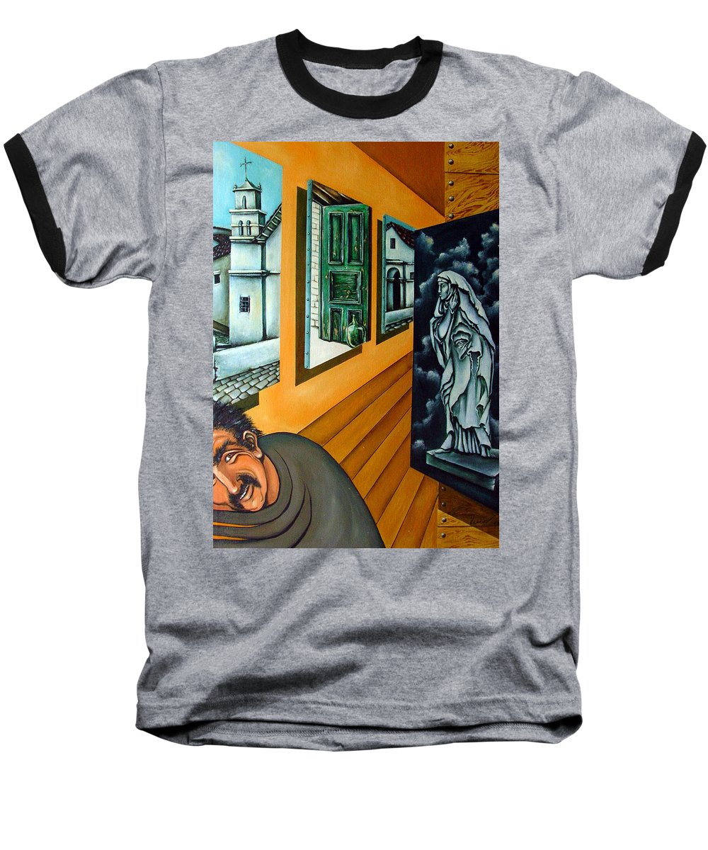 Surreal Baseball T-Shirt featuring the painting Asylum by Valerie Vescovi