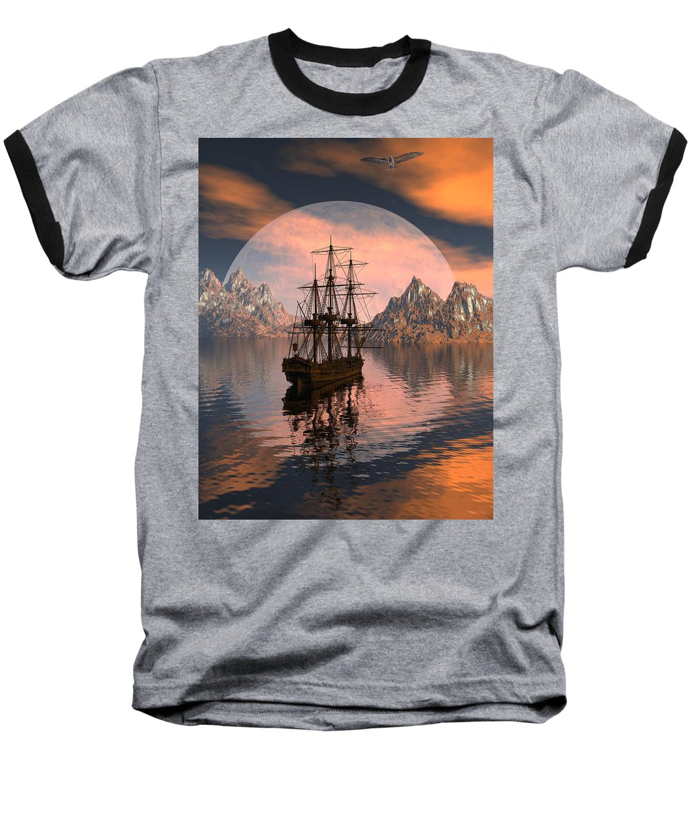 Bryce 3d Digital Fantasy Scifi Windjammer Sailing Baseball T-Shirt featuring the digital art At Anchor by Claude McCoy