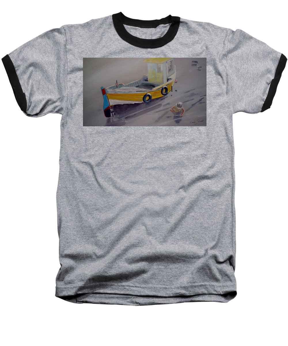 Seascape Baseball T-Shirt featuring the painting At Low Tide by Charles Stuart