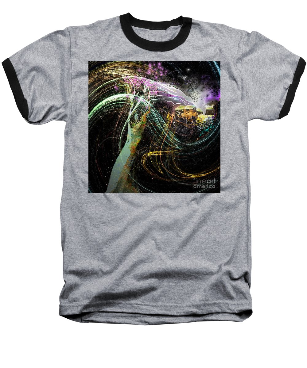 Fantasy Baseball T-Shirt featuring the painting At The End Of The Cosmos by Miki De Goodaboom