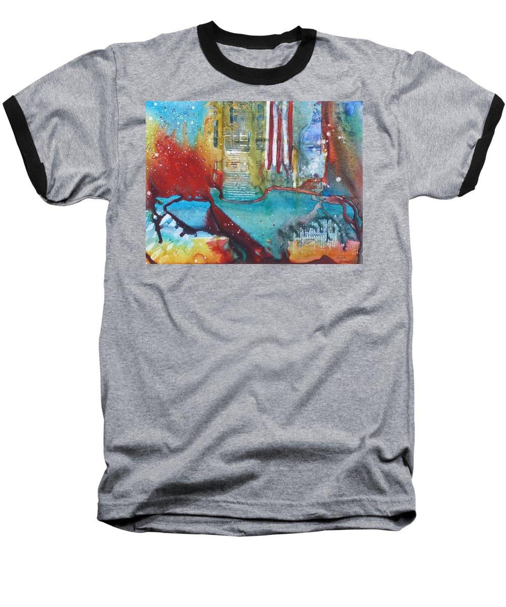 Abstract Baseball T-Shirt featuring the painting Atlantis Crashing Into The Sea by Ruth Kamenev