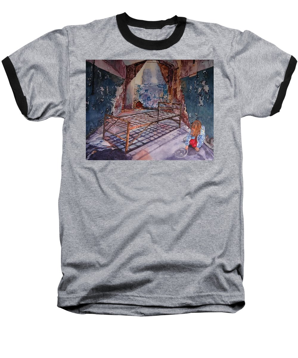 Social Commentary Baseball T-Shirt featuring the painting Attitude by Valerie Patterson