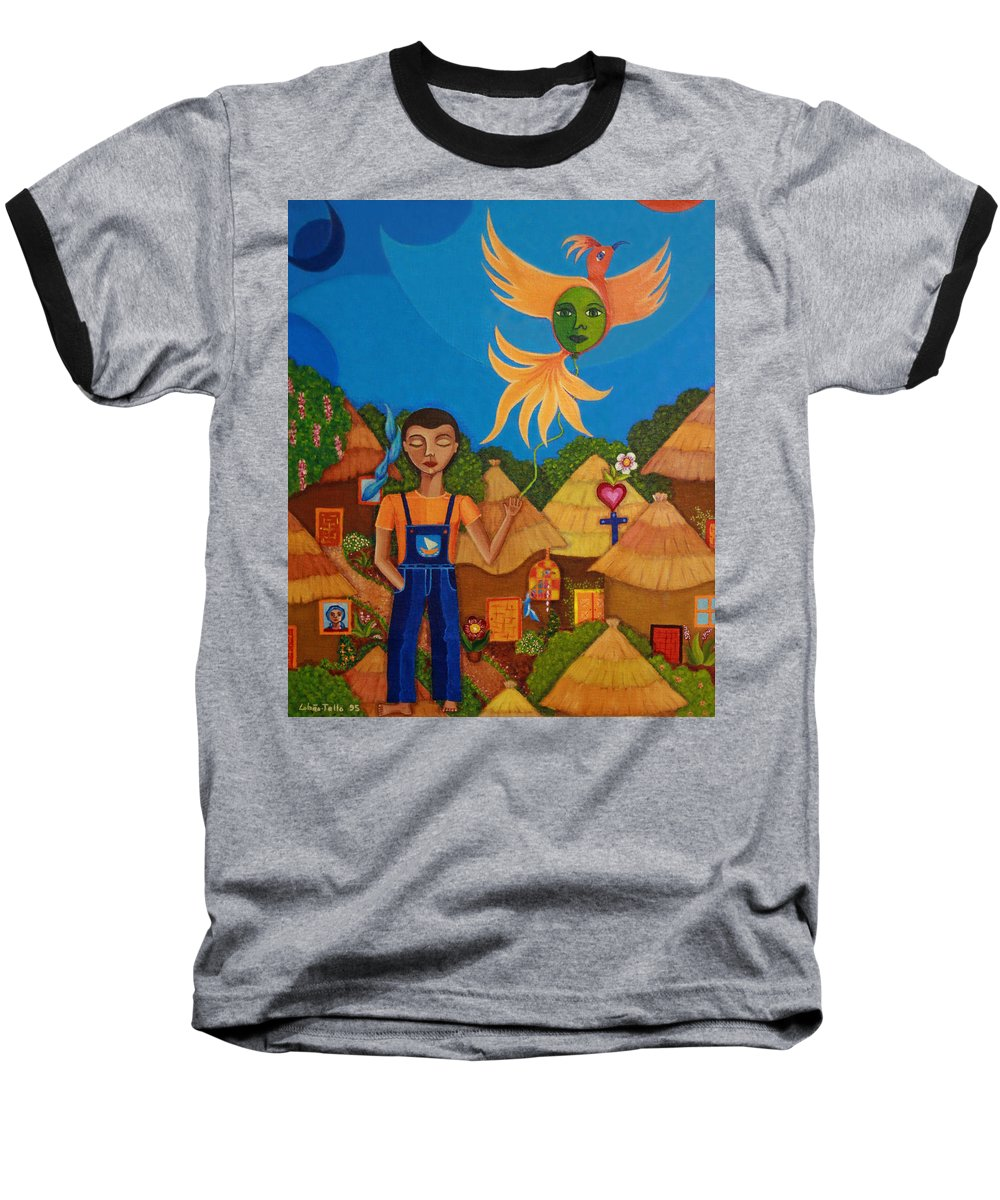 Autism Baseball T-Shirt featuring the painting Autism - A Flight To... by Madalena Lobao-Tello
