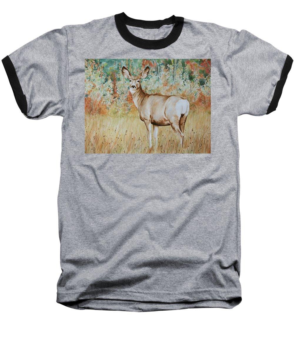 Wildlife Baseball T-Shirt featuring the painting Autumn Beauty- Mule Deer Doe by Elaine Booth-Kallweit