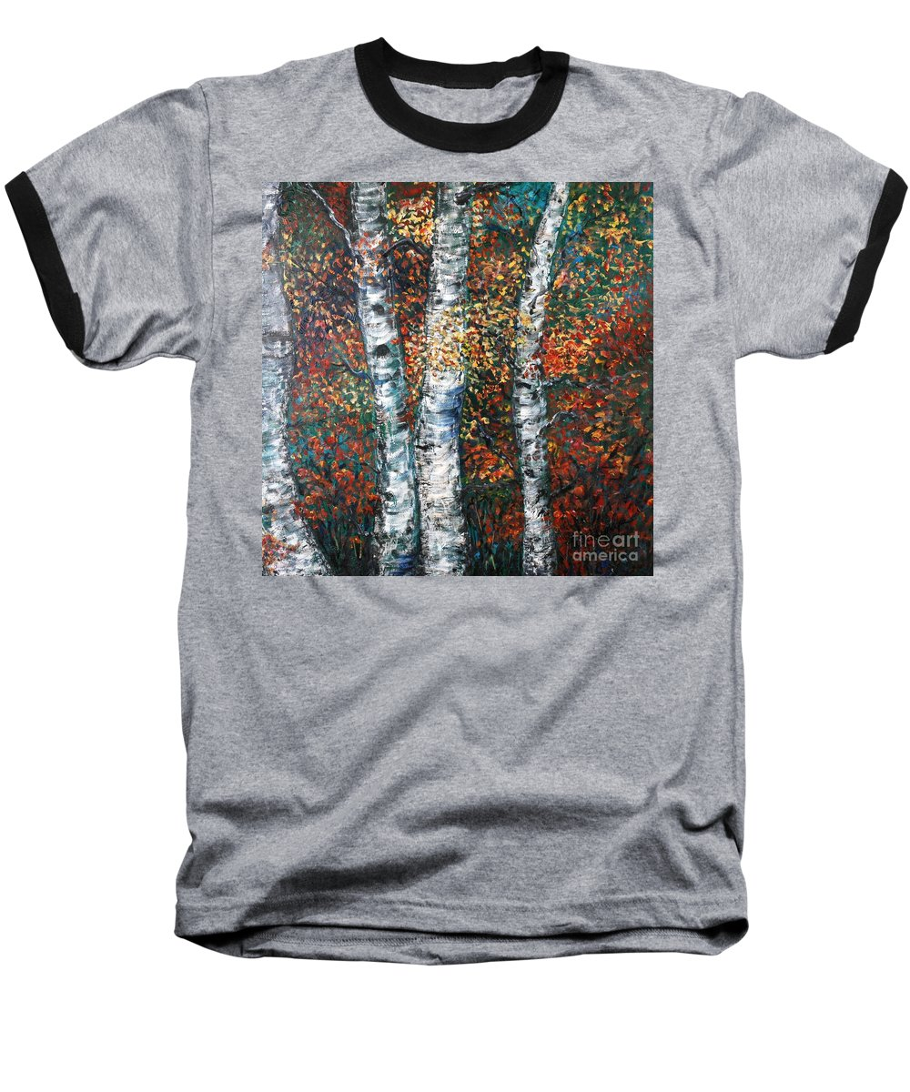 Birch Baseball T-Shirt featuring the painting Autumn Birch by Nadine Rippelmeyer