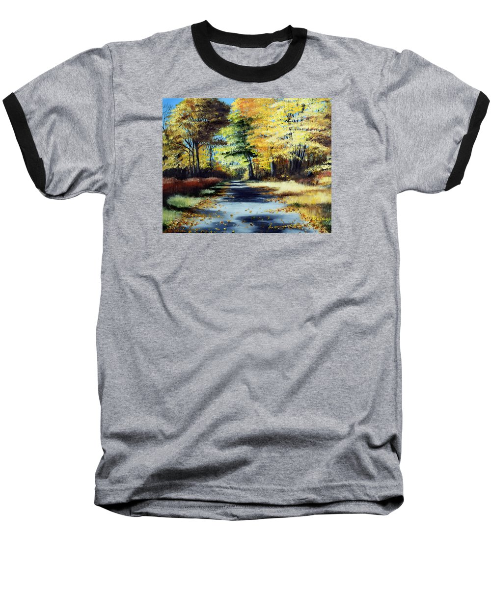 Landscape Baseball T-Shirt featuring the painting Autumn Colors by Paul Walsh