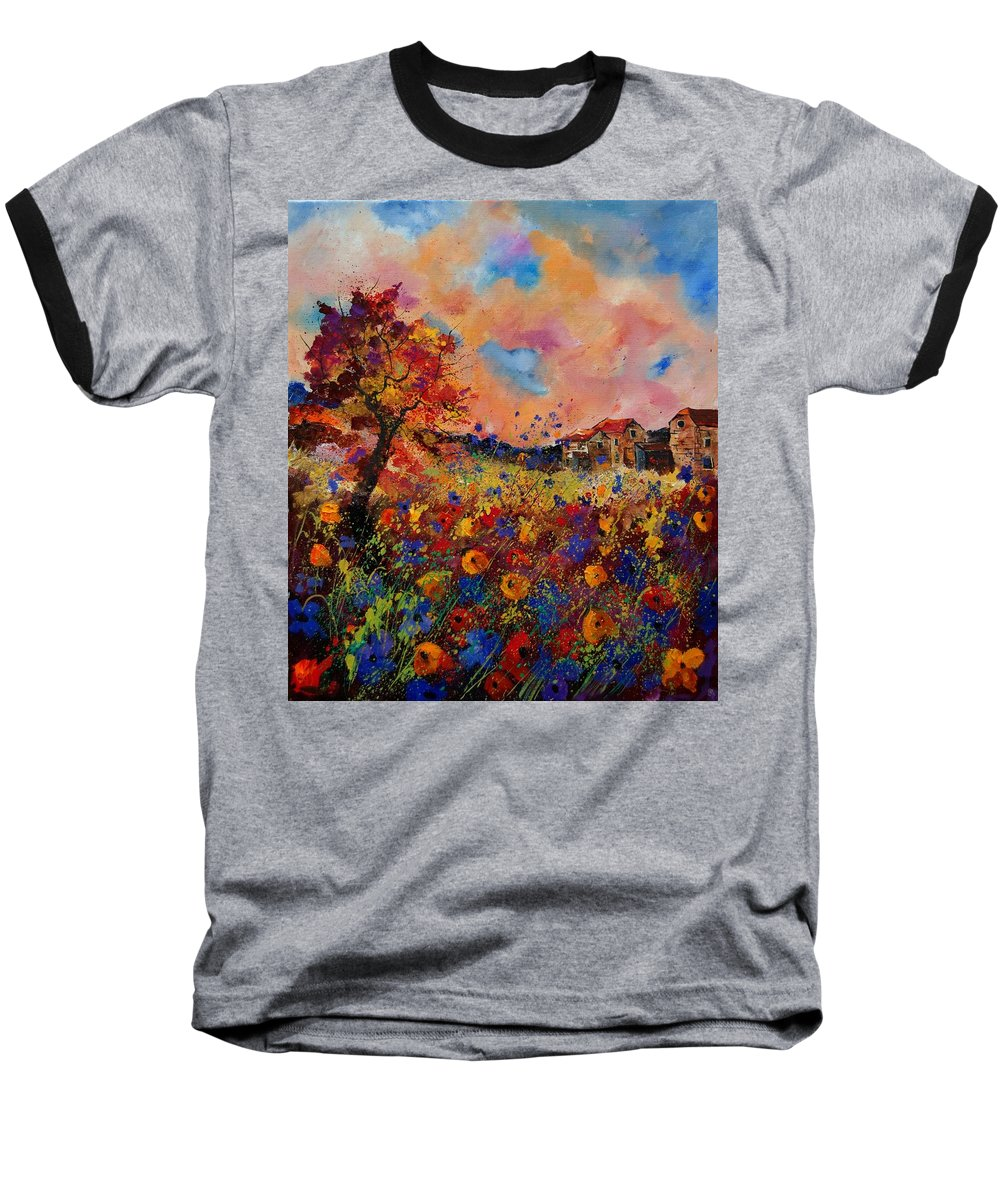 Poppies Baseball T-Shirt featuring the painting Autumn Colors by Pol Ledent