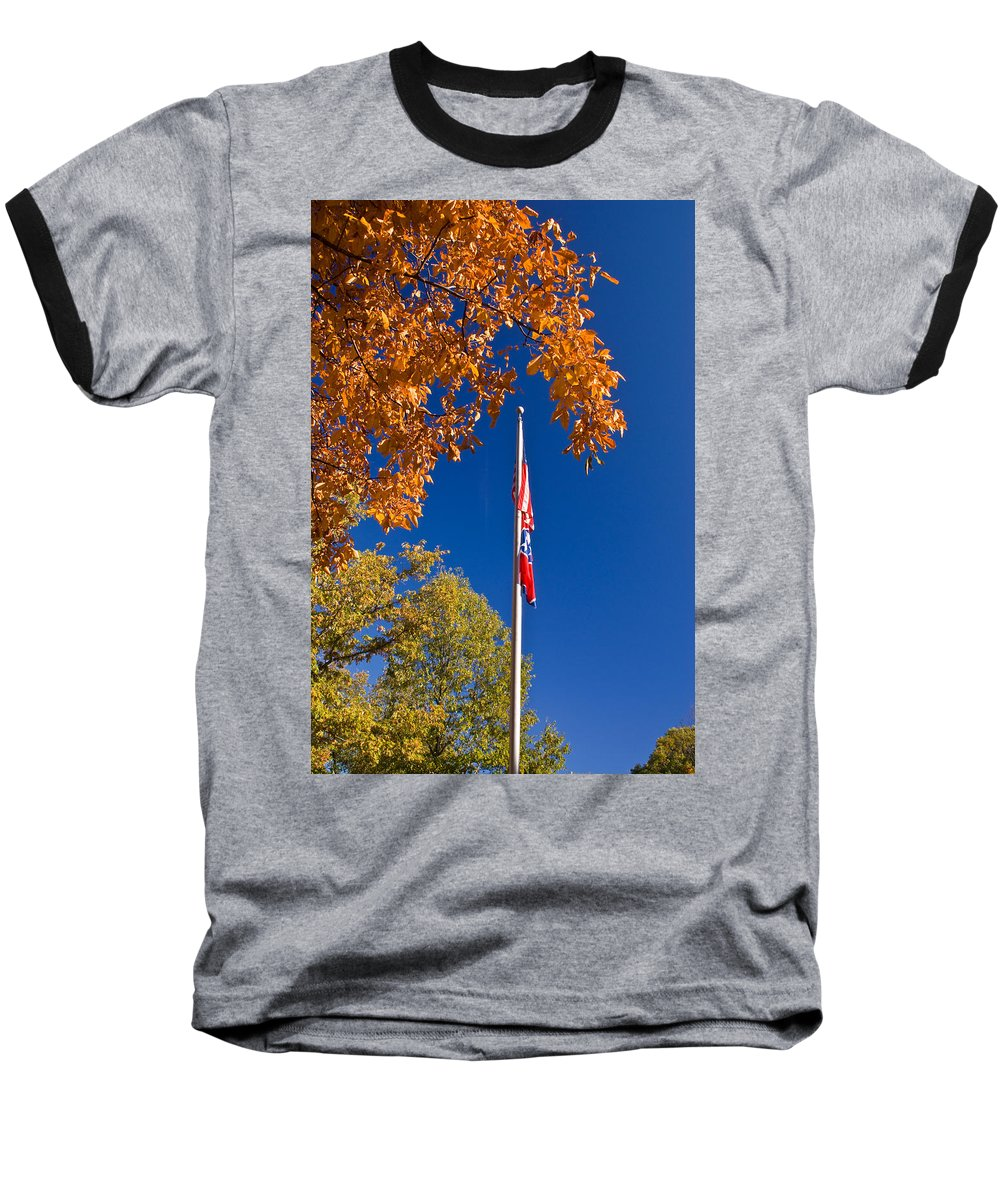 Flag Baseball T-Shirt featuring the photograph Autumn Flag by Douglas Barnett