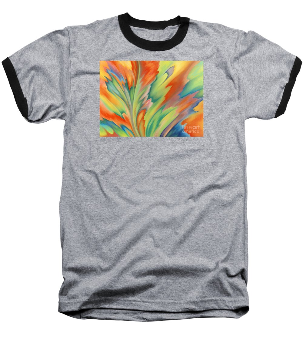 Abstract Baseball T-Shirt featuring the painting Autumn Flame by Lucy Arnold