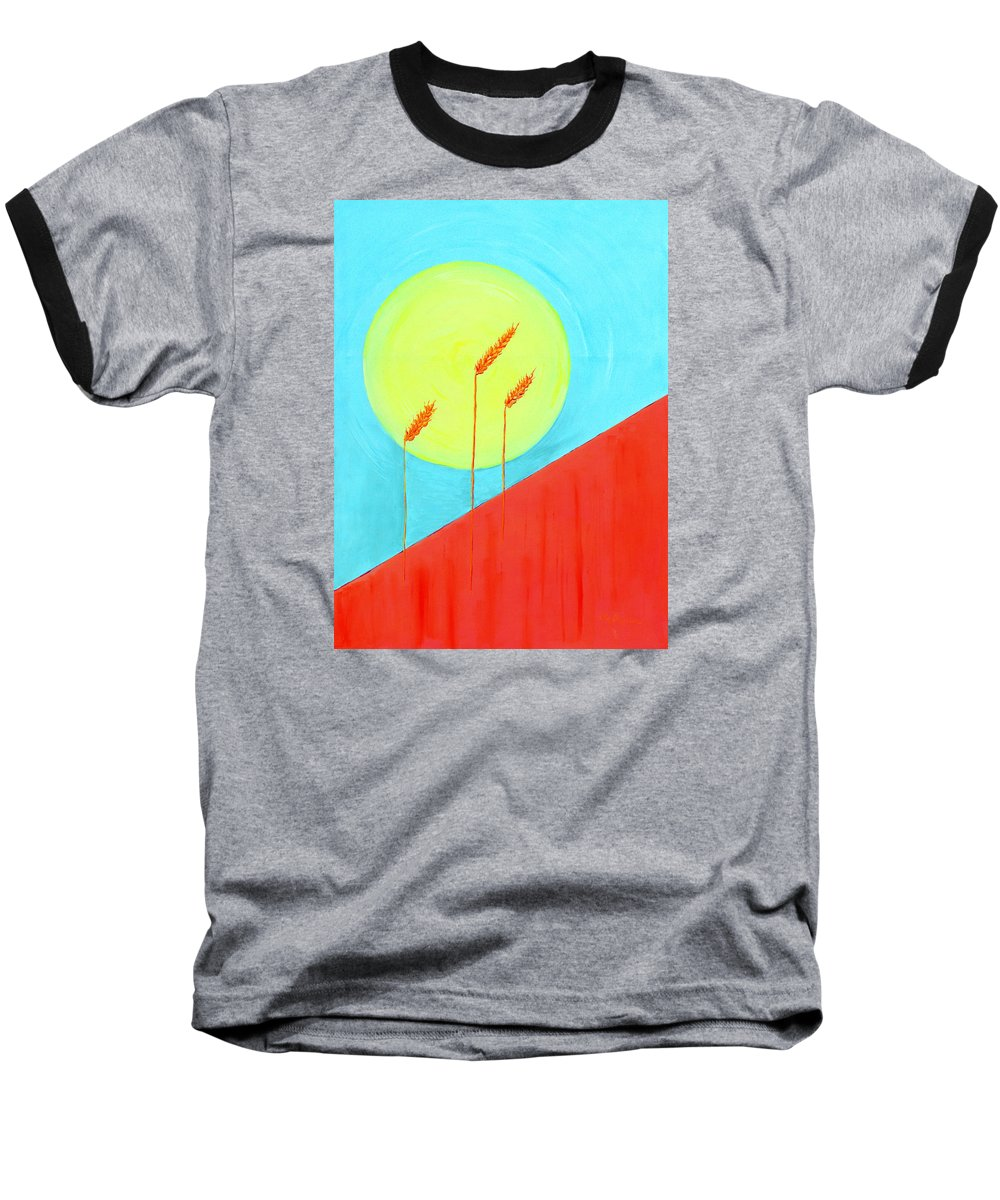 Landscape Baseball T-Shirt featuring the painting Autumn Harvest by J R Seymour