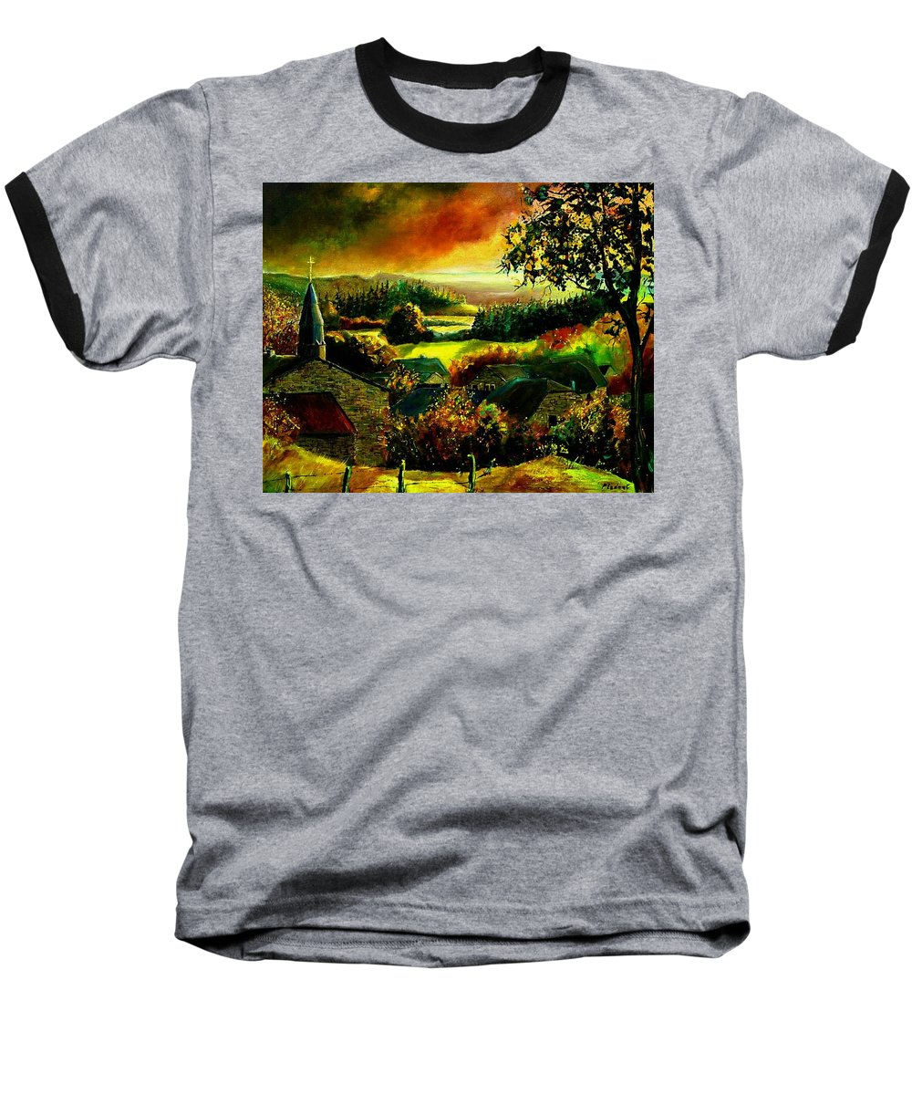 Landscape Baseball T-Shirt featuring the painting Autumn In Our Village Ardennes by Pol Ledent