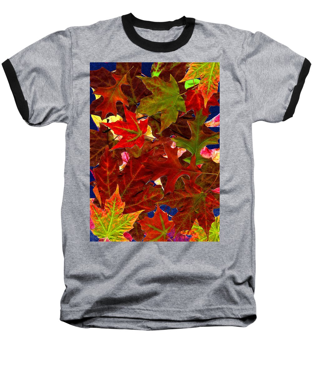 Collage Baseball T-Shirt featuring the photograph Autumn Leaves by Nancy Mueller