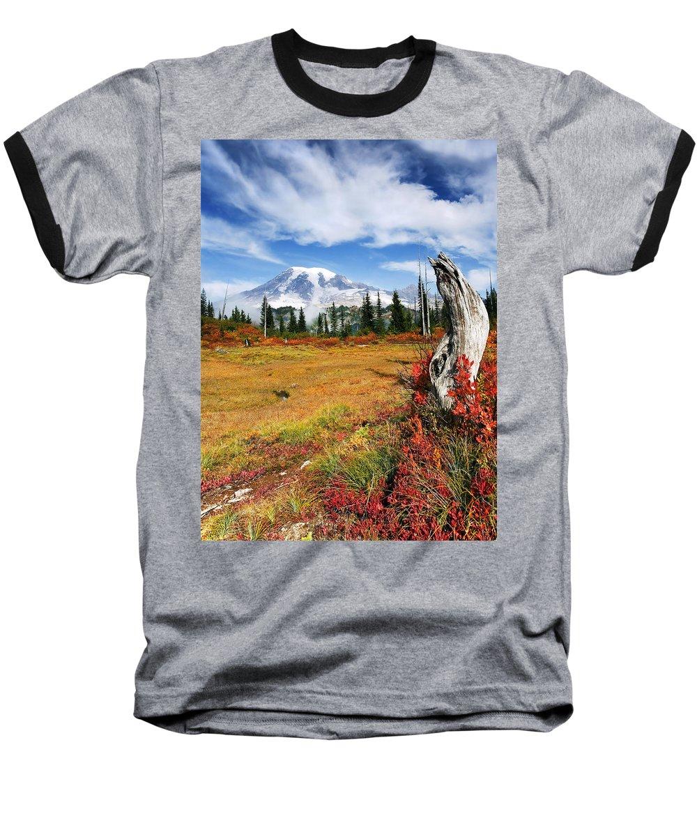 Rainier Baseball T-Shirt featuring the photograph Autumn Majesty by Mike Dawson