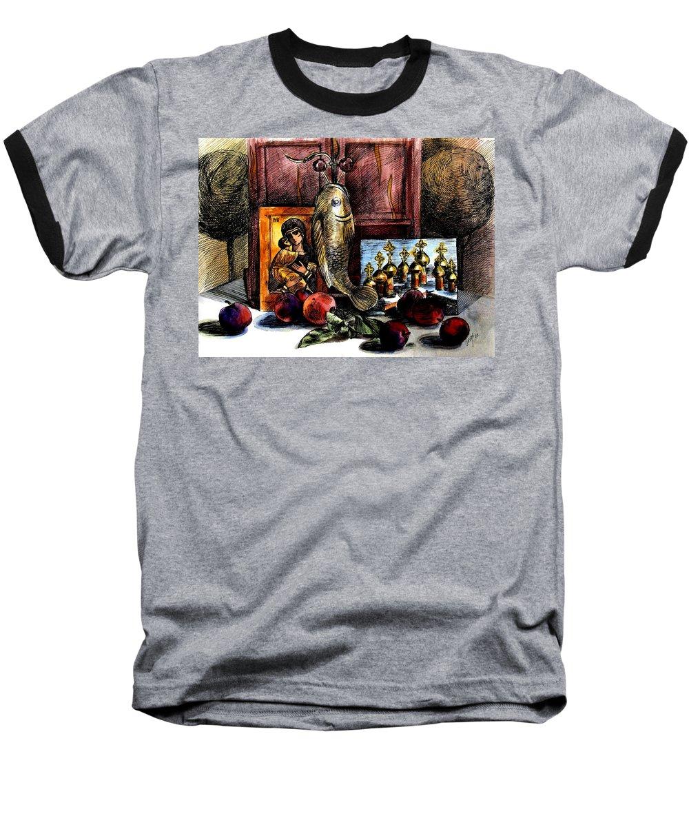 Madonna Baseball T-Shirt featuring the painting Autumn Prayer by Inga Vereshchagina