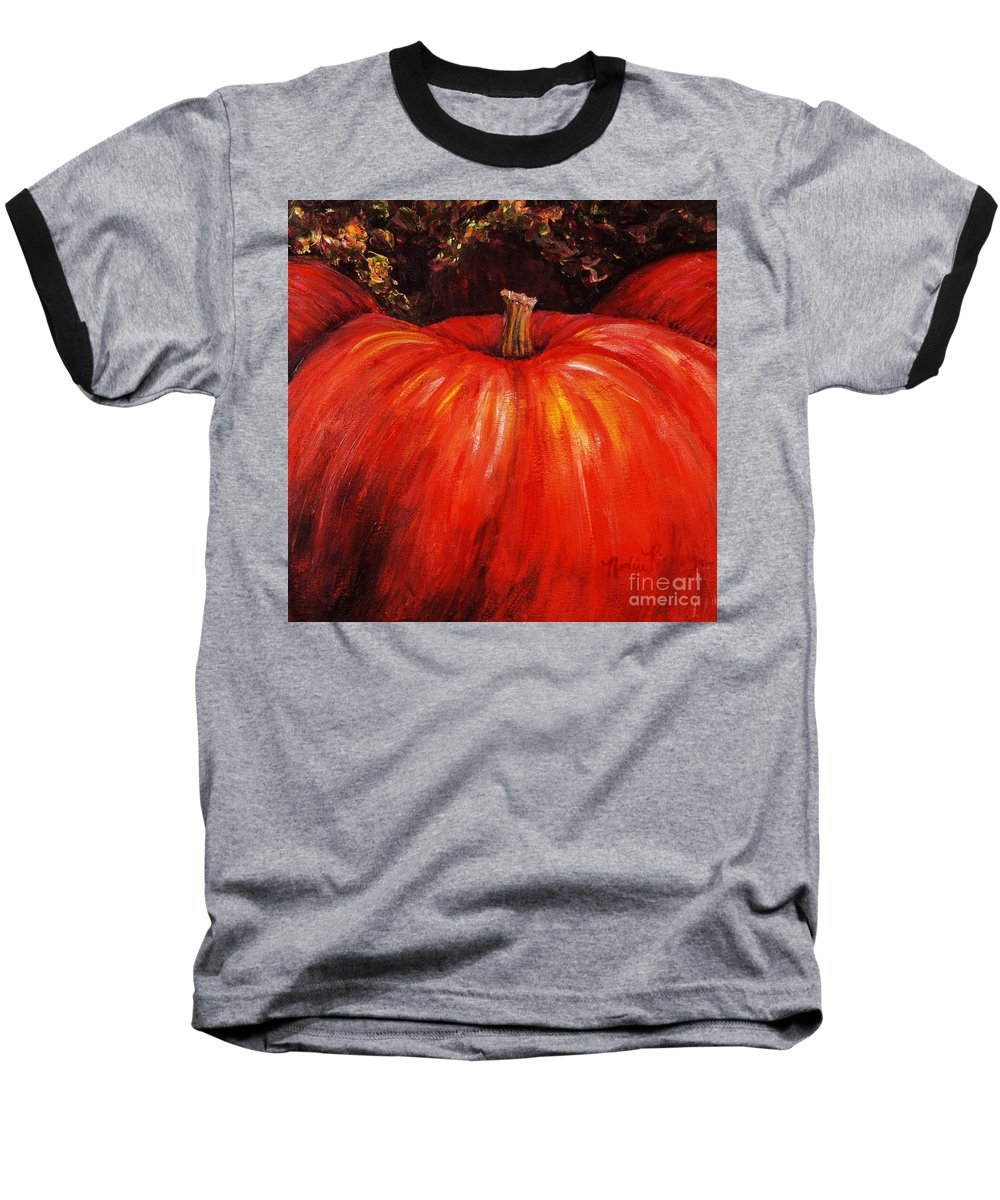 Orange Baseball T-Shirt featuring the painting Autumn Pumpkins by Nadine Rippelmeyer