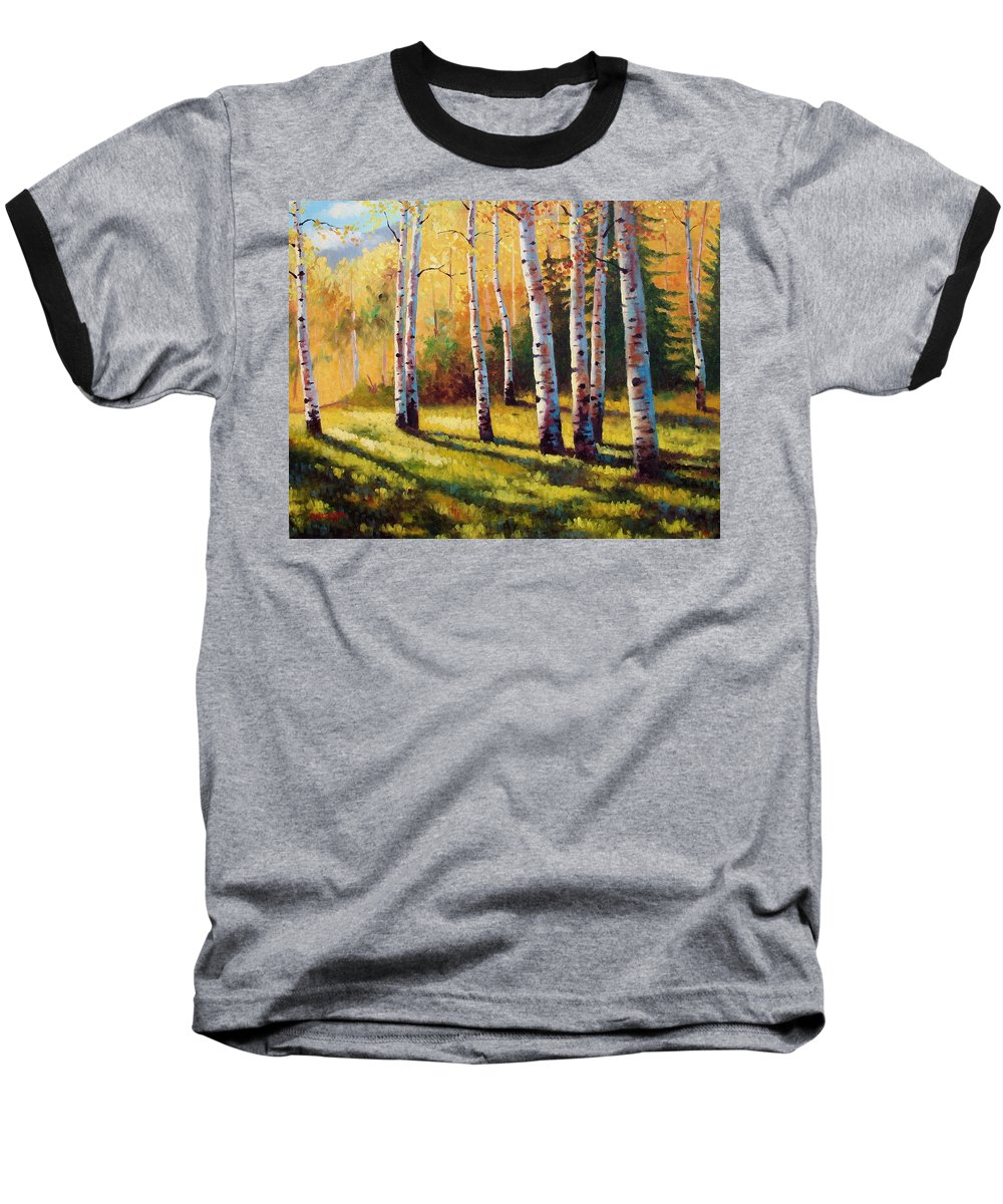 Landscape Baseball T-Shirt featuring the painting Autumn Shade by David G Paul