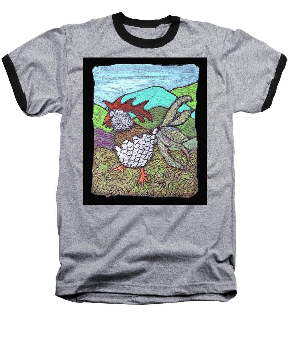 Chicken Baseball T-Shirt featuring the painting Autumn Strut by Wayne Potrafka