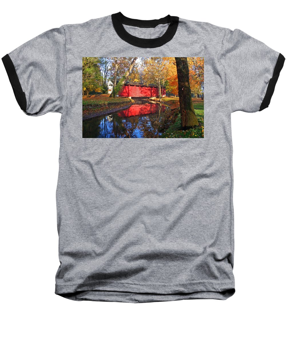 Covered Bridge Baseball T-Shirt featuring the photograph Autumn Sunrise Bridge II by Margie Wildblood