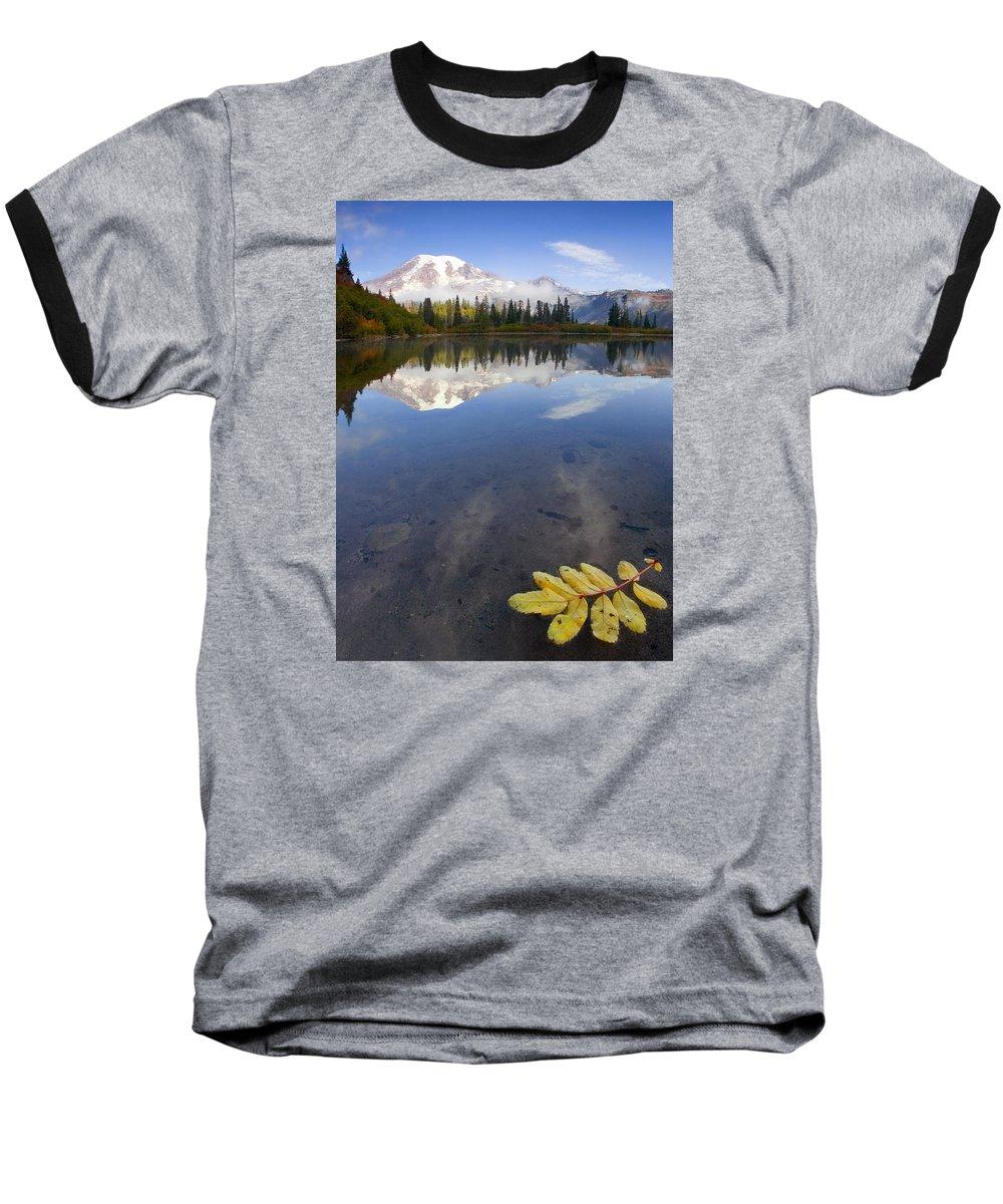 Rainier Baseball T-Shirt featuring the photograph Autumn Suspended by Mike Dawson