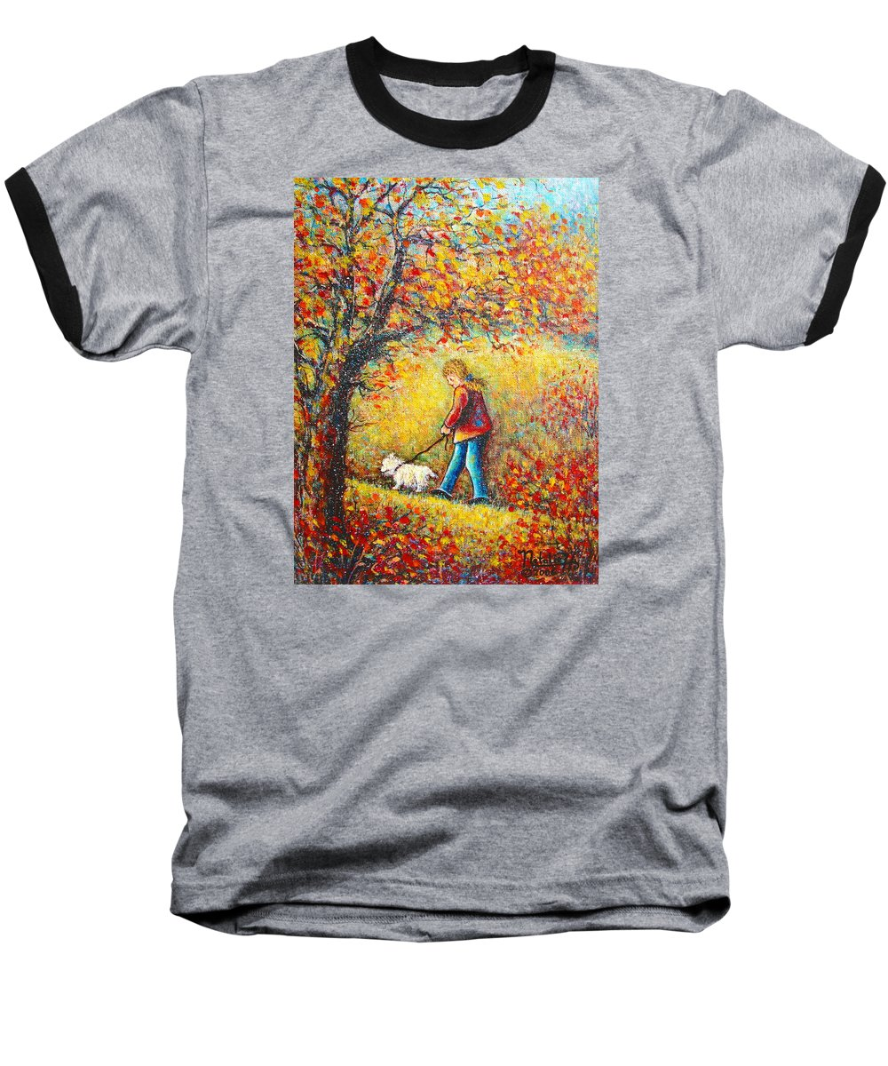 Landscape Baseball T-Shirt featuring the painting Autumn Walk by Natalie Holland