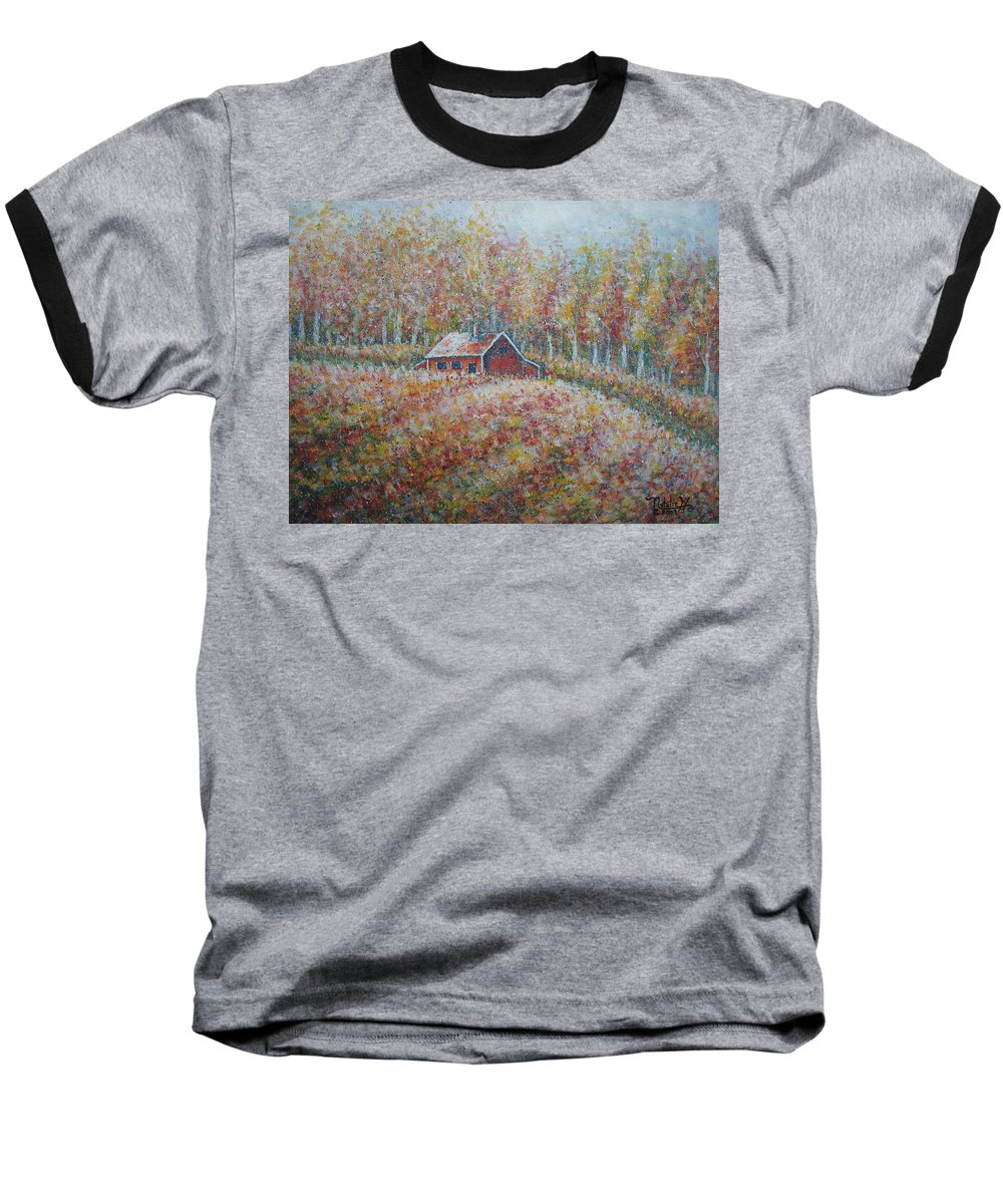 Landscape Baseball T-Shirt featuring the painting Autumn Whisper. by Natalie Holland