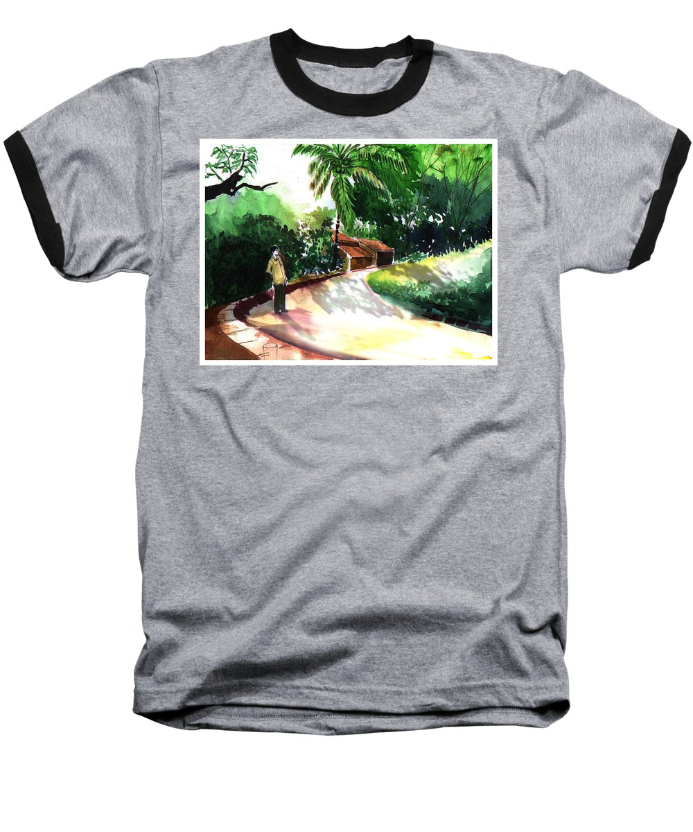 Water Color Watercolor Landscape Greenery Baseball T-Shirt featuring the painting Awe by Anil Nene