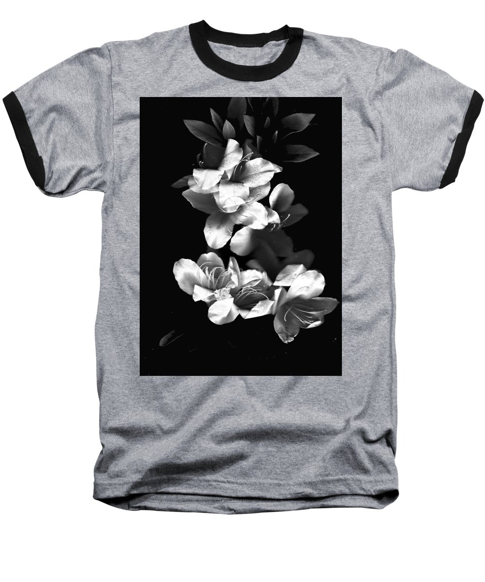 Azaela Baseball T-Shirt featuring the photograph Azaela Blossom In Black And White by Wayne Potrafka