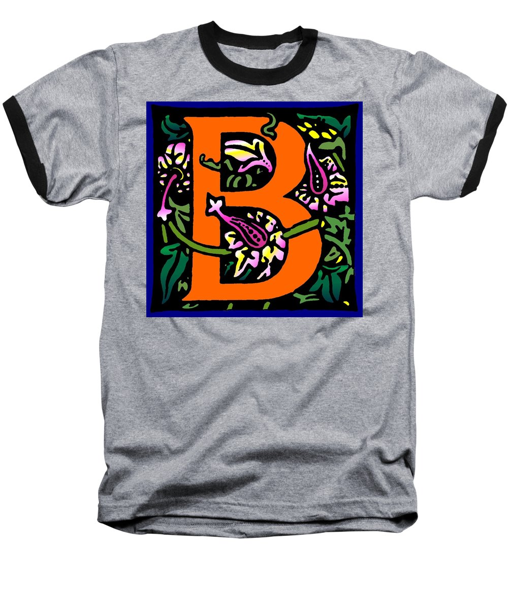 Alphabet Baseball T-Shirt featuring the digital art B In Orange by Kathleen Sepulveda