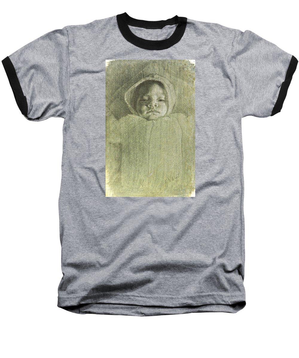 Baseball T-Shirt featuring the painting Baby Self Portrait by Joe Velez