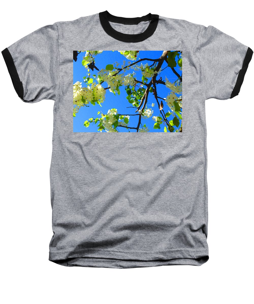 Tree Blossoms Baseball T-Shirt featuring the painting Backlit White Tree Blossoms by Amy Vangsgard