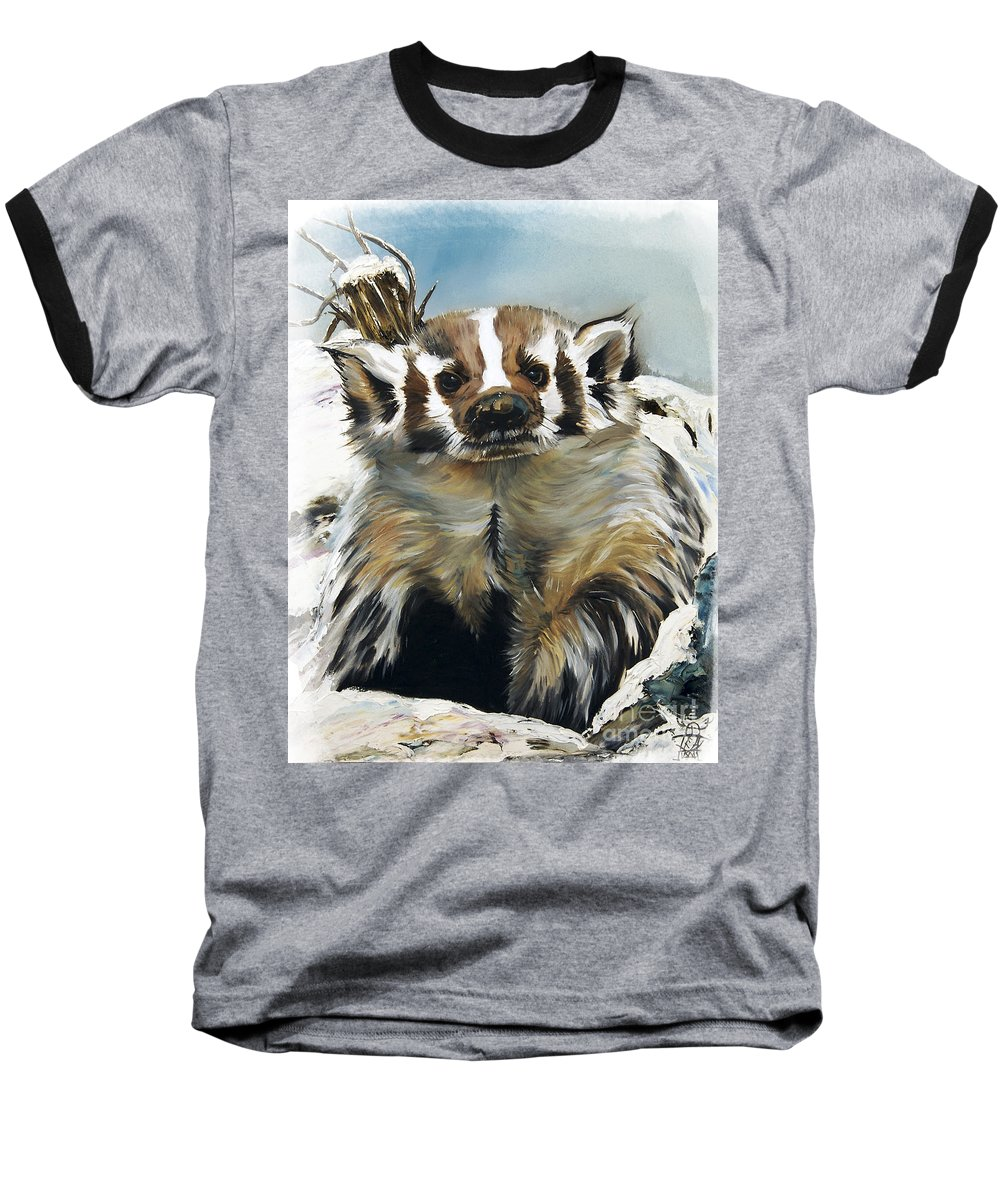 Southwest Art Baseball T-Shirt featuring the painting Badger - Guardian Of The South by J W Baker