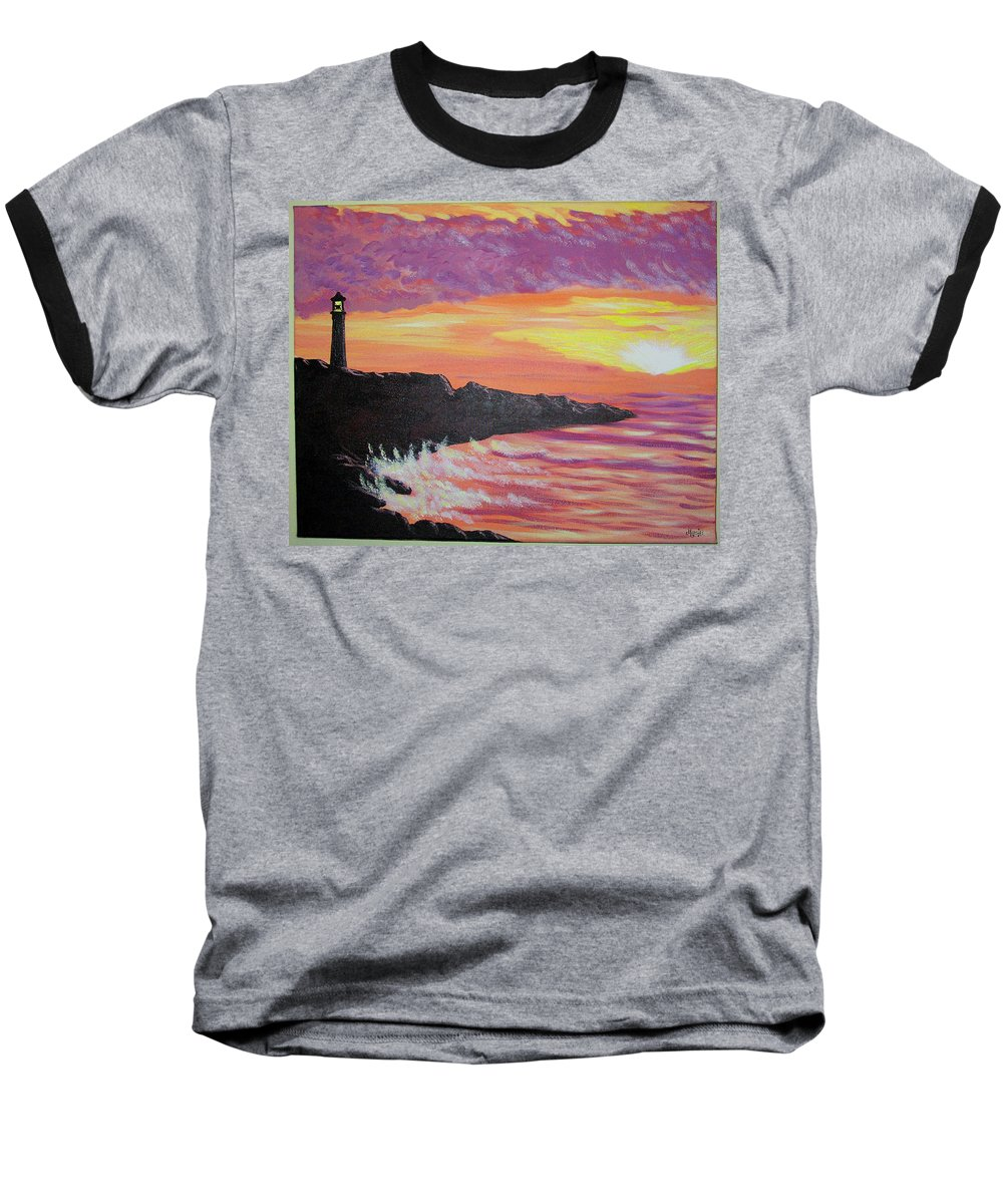 Seascape Baseball T-Shirt featuring the painting Bahia At Sunset by Marco Morales