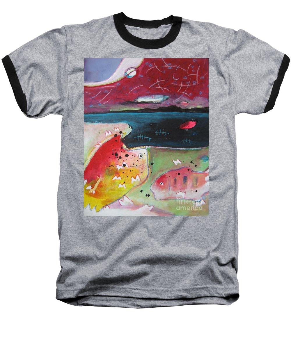 Acrylic Paintings Baseball T-Shirt featuring the painting Baieverte by Seon-Jeong Kim