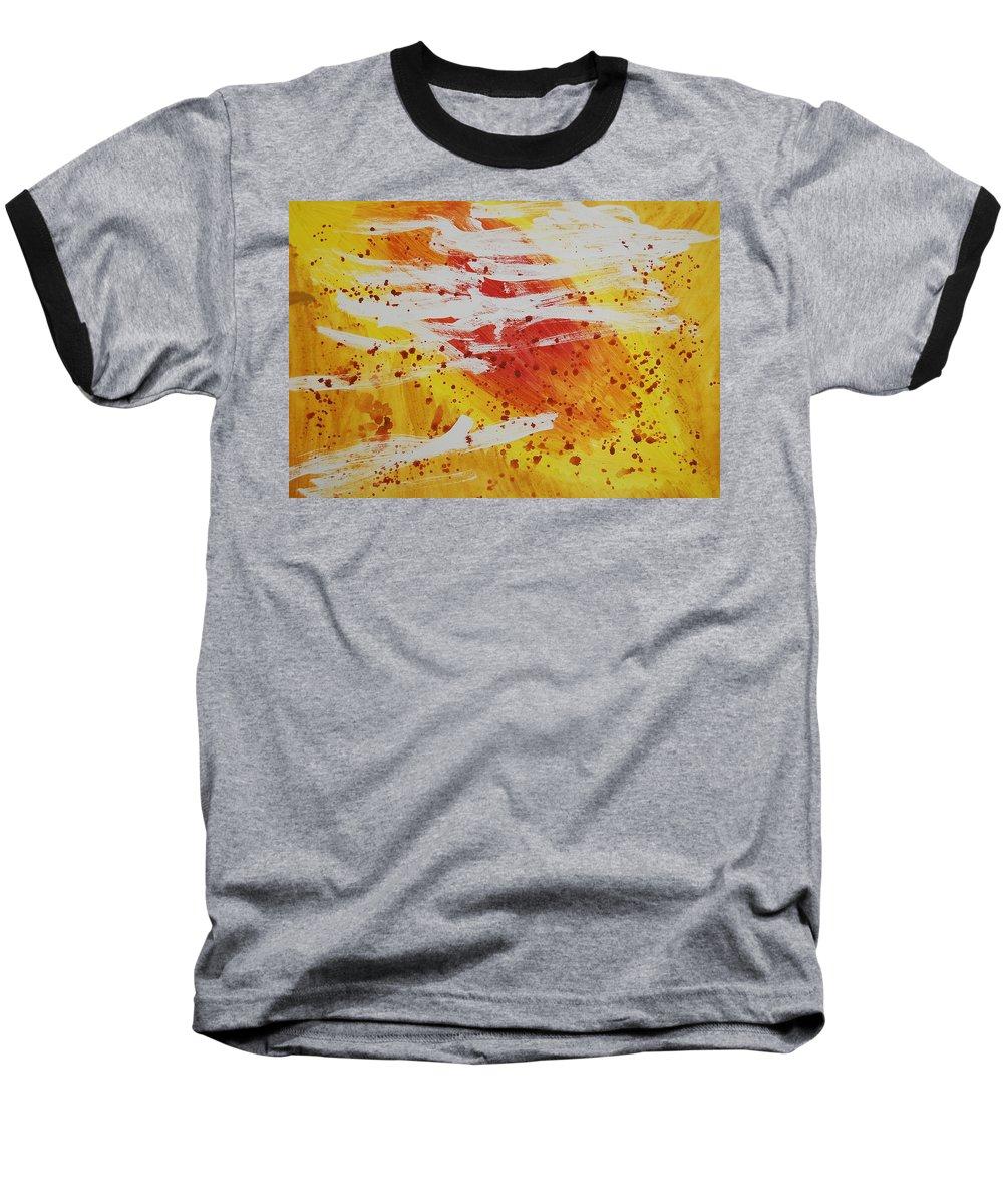 Abstract Baseball T-Shirt featuring the painting Bailando En El Sol by Lauren Luna