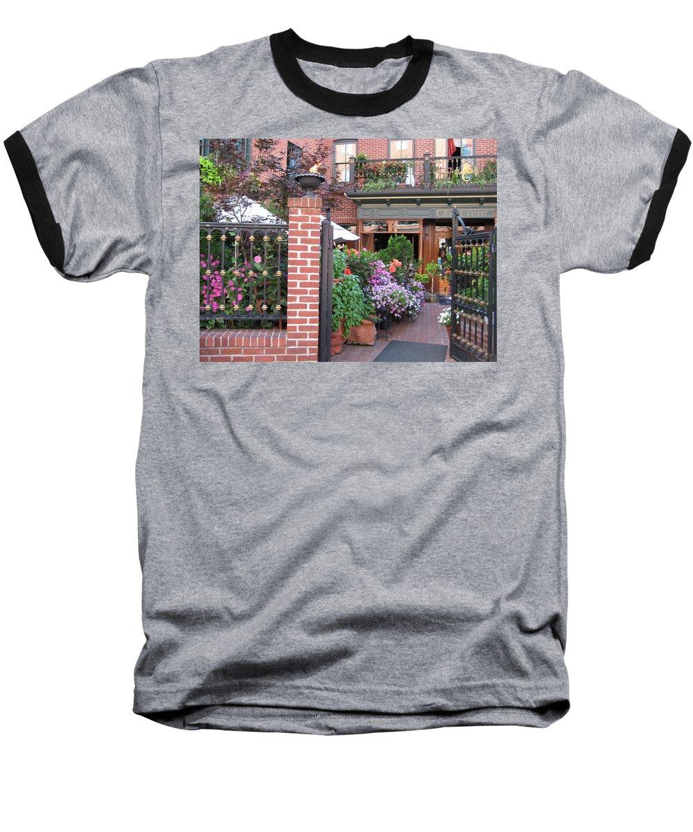 Courtyard Baseball T-Shirt featuring the photograph Baltimore Cafe     By Jean Carton by Jerrold Carton