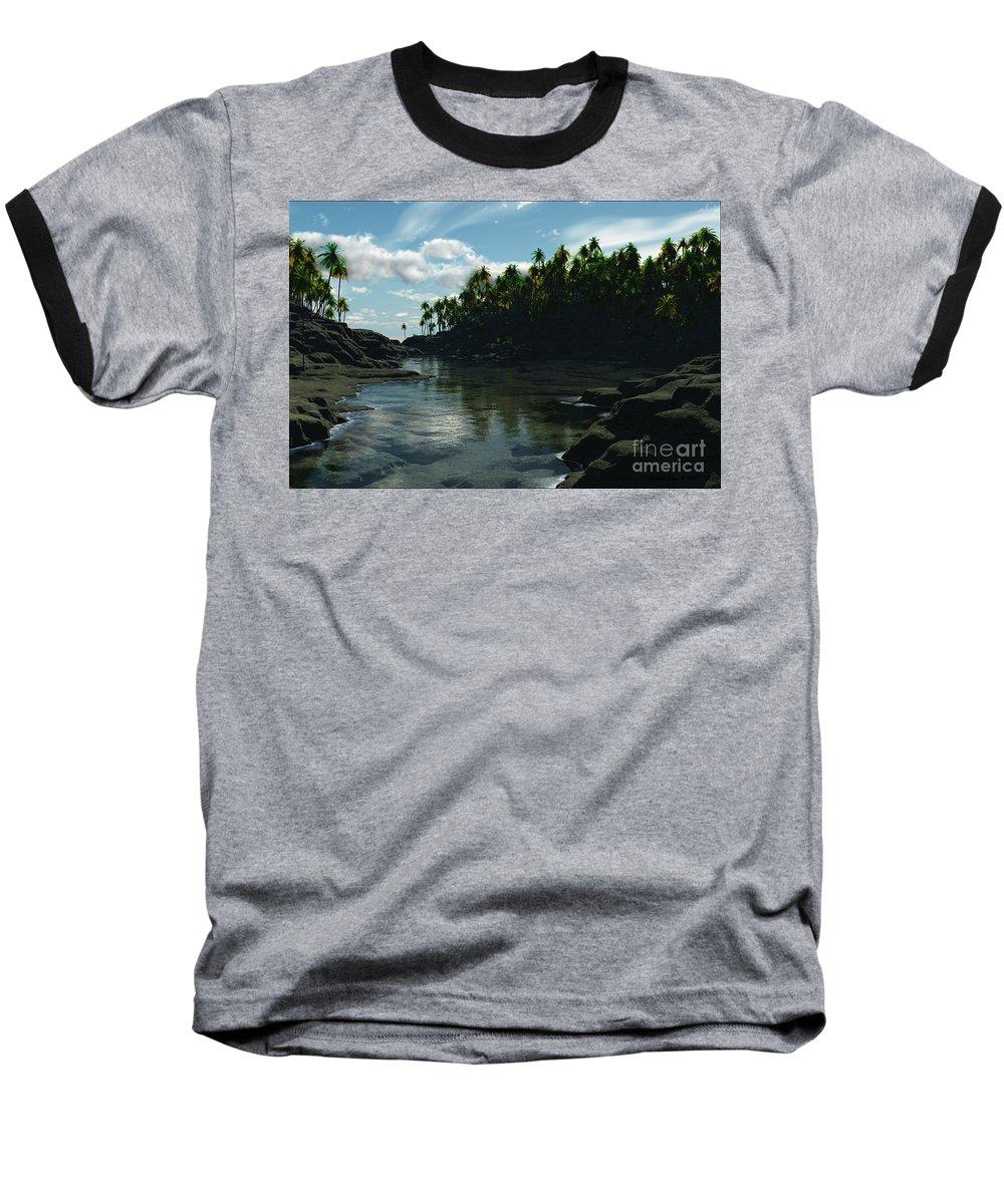 Rivers Baseball T-Shirt featuring the digital art Banana River by Richard Rizzo
