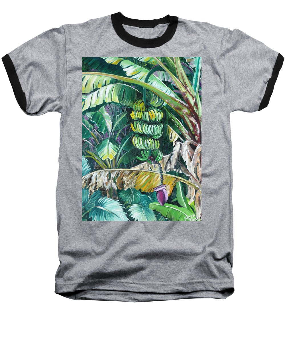 Caribbean Painting Bananas Trees P Painting Fruit Painting Tropical Painting Baseball T-Shirt featuring the painting Bananas by Karin Dawn Kelshall- Best