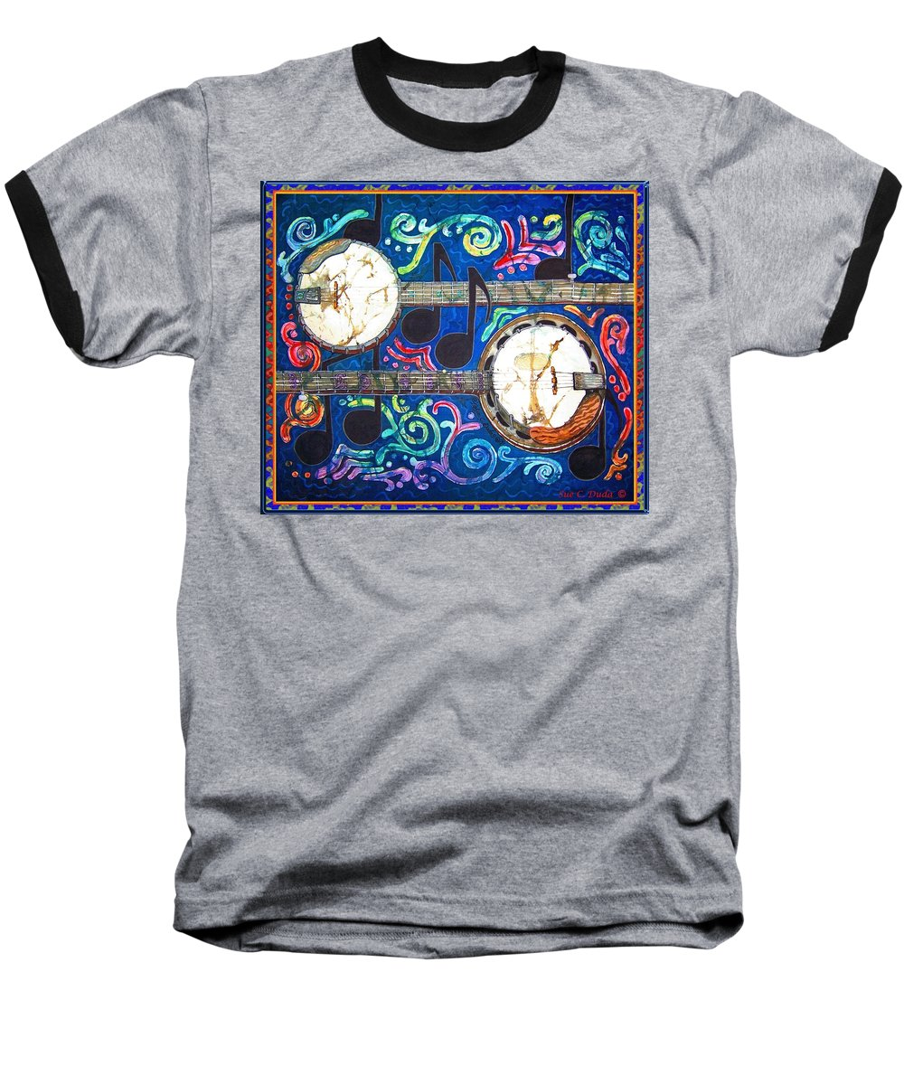 Banjo Baseball T-Shirt featuring the painting Banjos - Bordered by Sue Duda