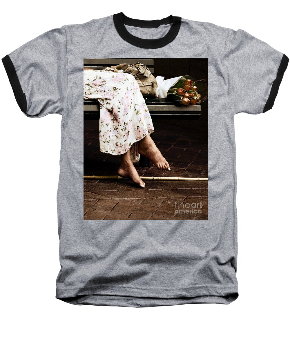 Barefeet Feet Barefoot Tulips Baseball T-Shirt featuring the photograph Barefoot And Tulips by Avalon Fine Art Photography