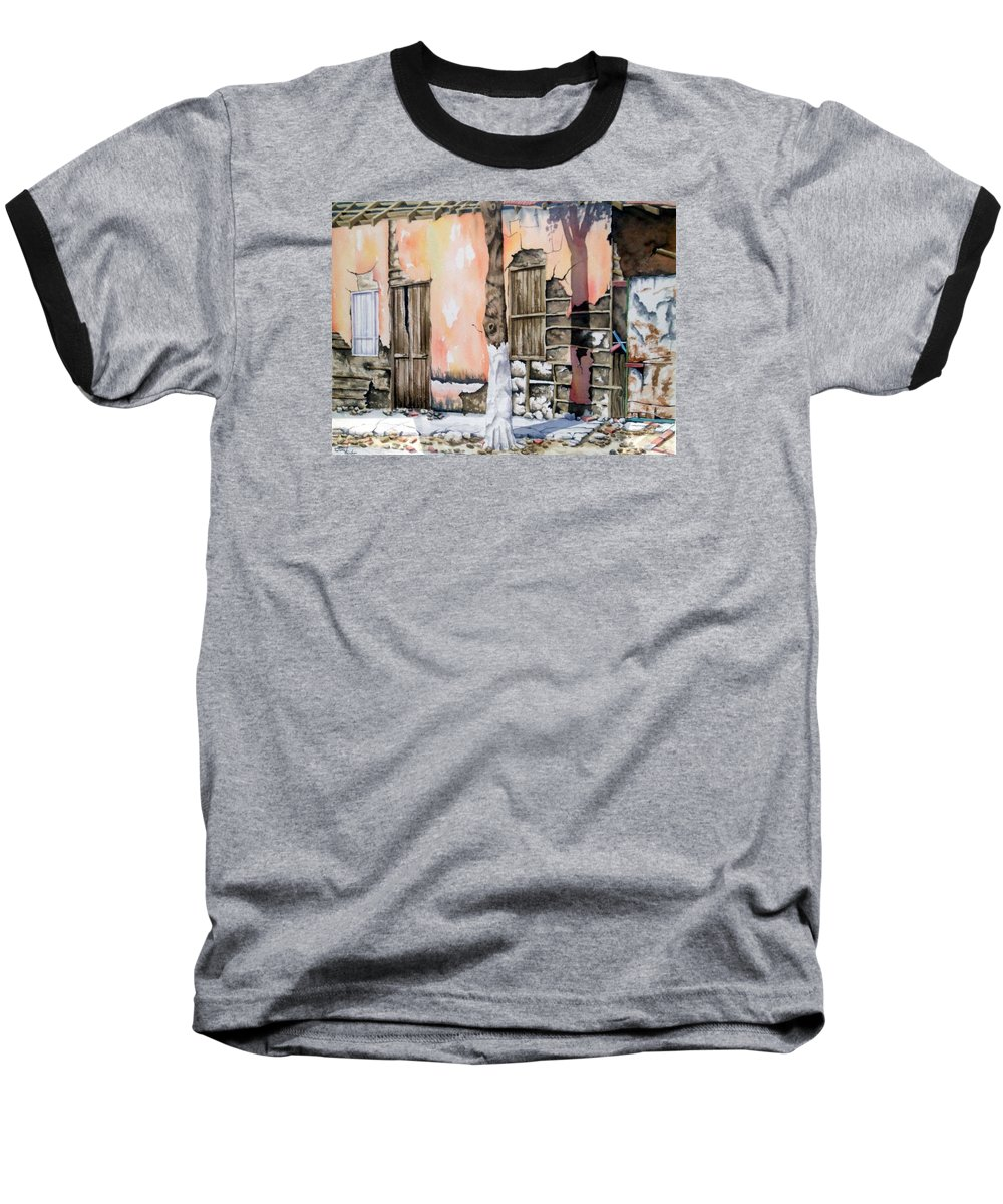 Lanscape Baseball T-Shirt featuring the painting Bareque II by Tatiana Escobar