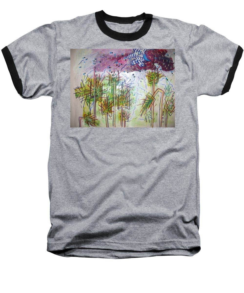 Barly Paintings Baseball T-Shirt featuring the painting Barly And The Blue Moon by Seon-Jeong Kim