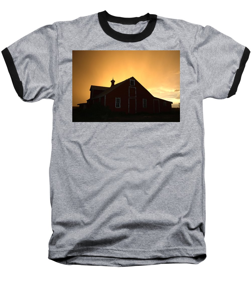 Barn Baseball T-Shirt featuring the photograph Barn At Sunset by Jerry McElroy