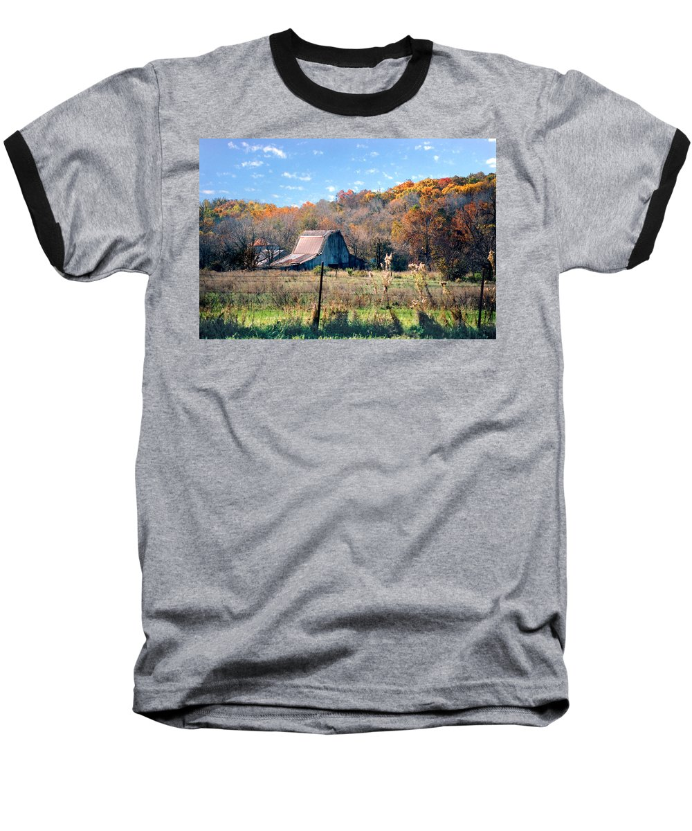 Landscape Baseball T-Shirt featuring the photograph Barn In Liberty Mo by Steve Karol