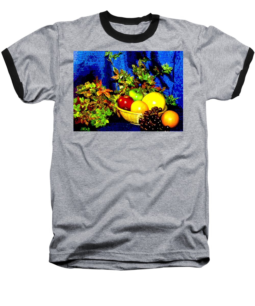 Fruit Baseball T-Shirt featuring the photograph Basket With Fruit by Nancy Mueller