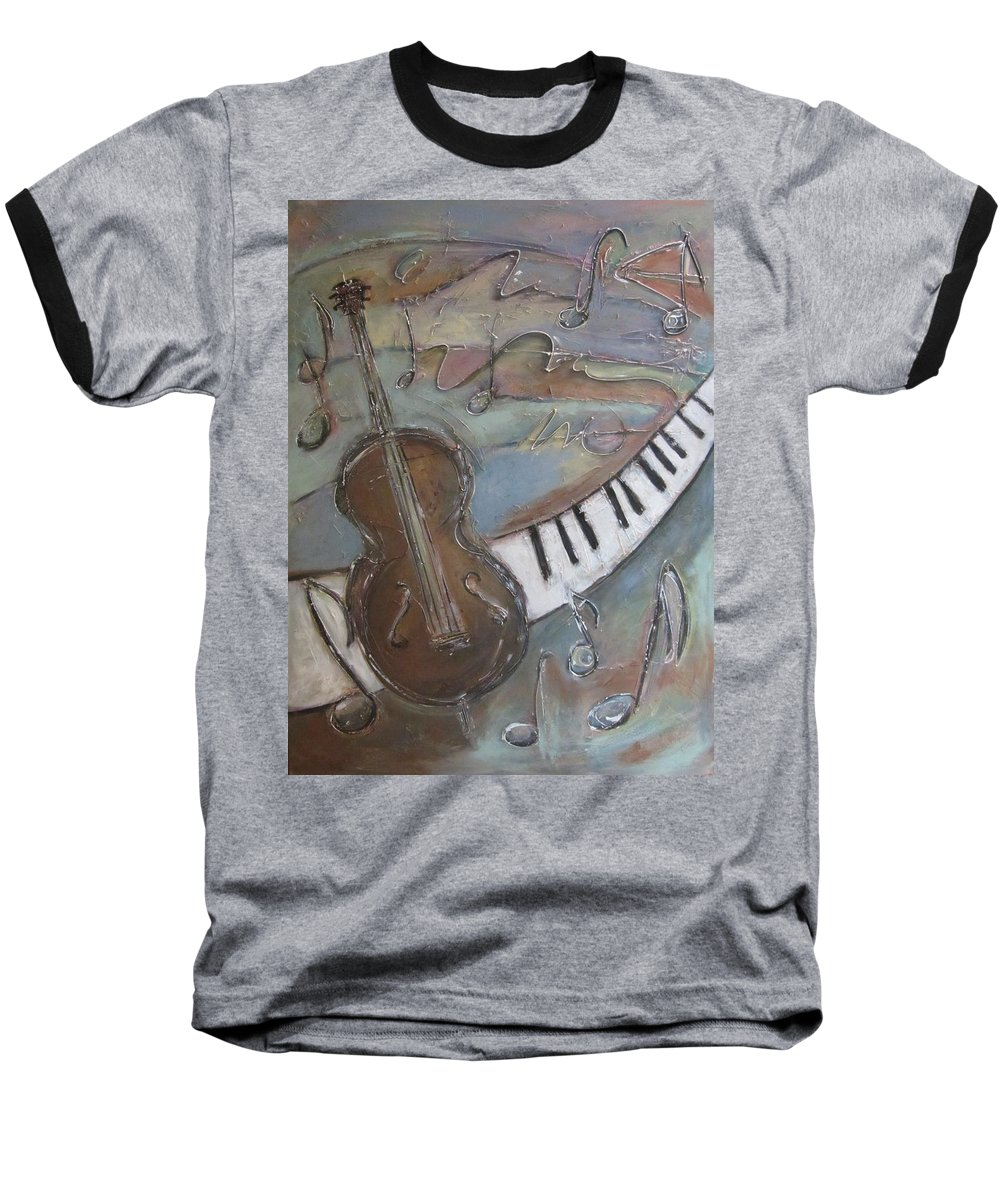 Painting Baseball T-Shirt featuring the painting Bass And Keys by Anita Burgermeister