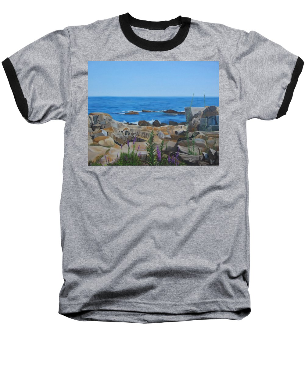 Seascape Baseball T-Shirt featuring the painting Bass Rocks Gloucester by Lea Novak