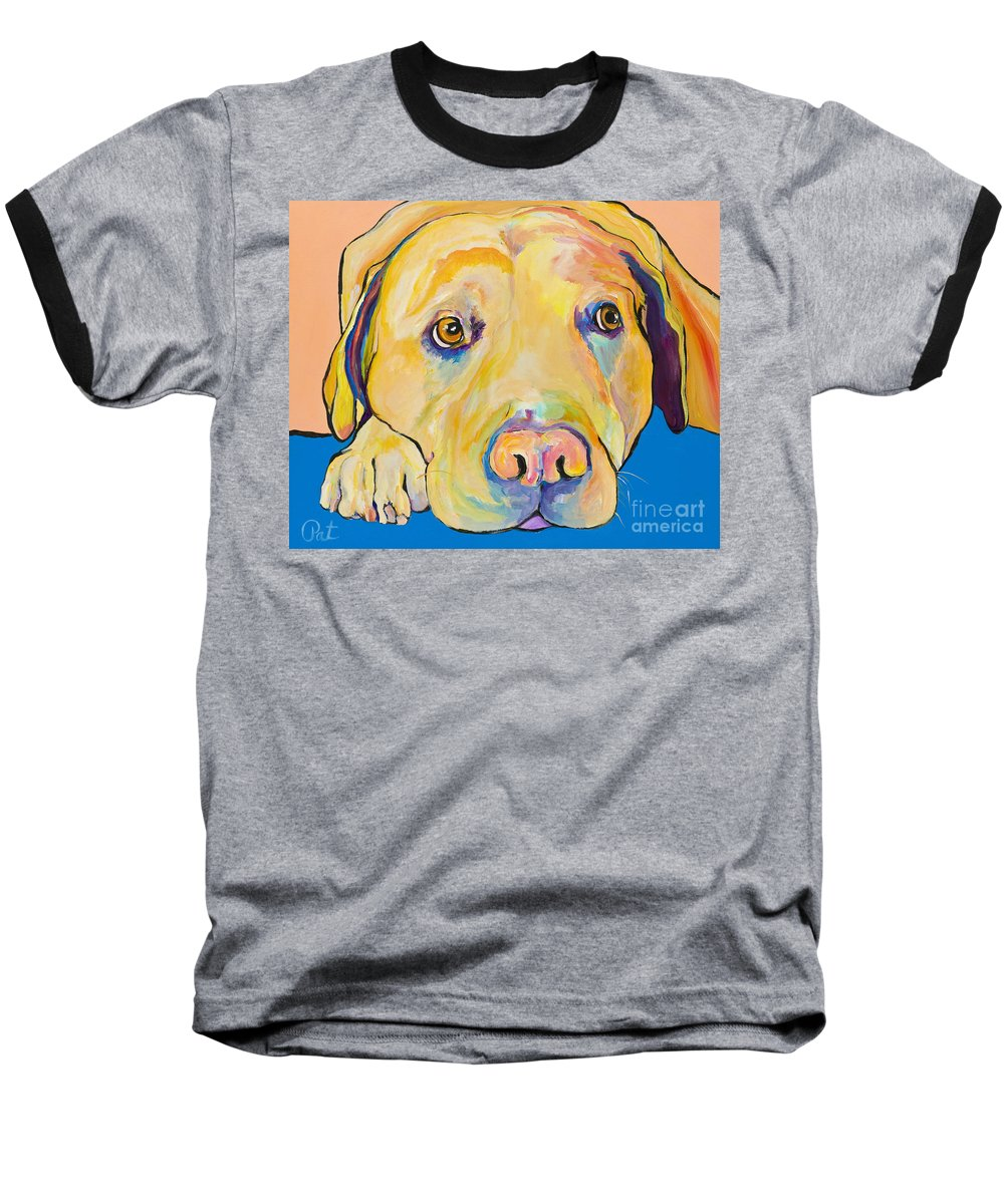 Dog Paintings Yellow Lab Puppy Colorful Animals Pets Baseball T-Shirt featuring the painting Bath Time by Pat Saunders-White