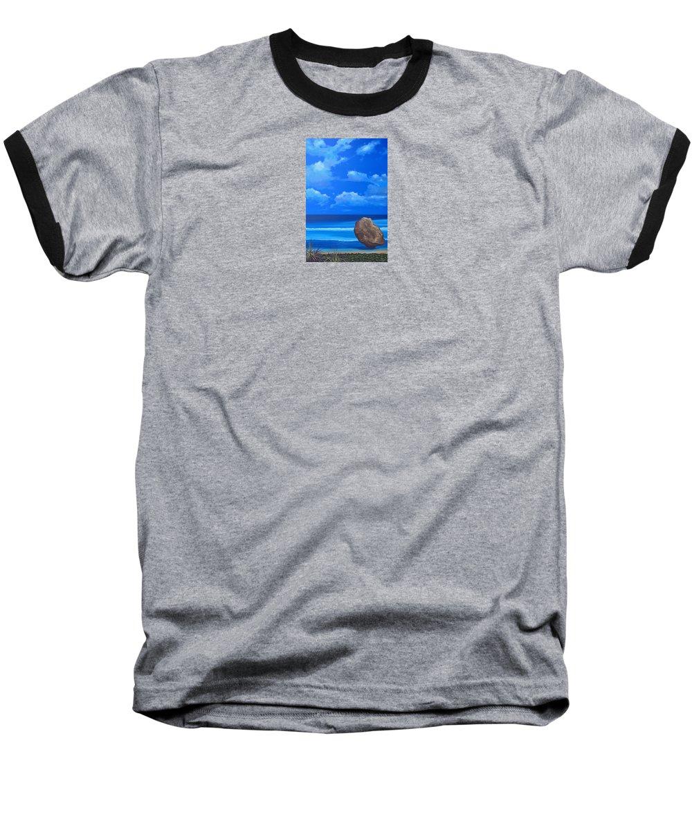 Barbados Baseball T-Shirt featuring the painting Bathsheba by Hunter Jay