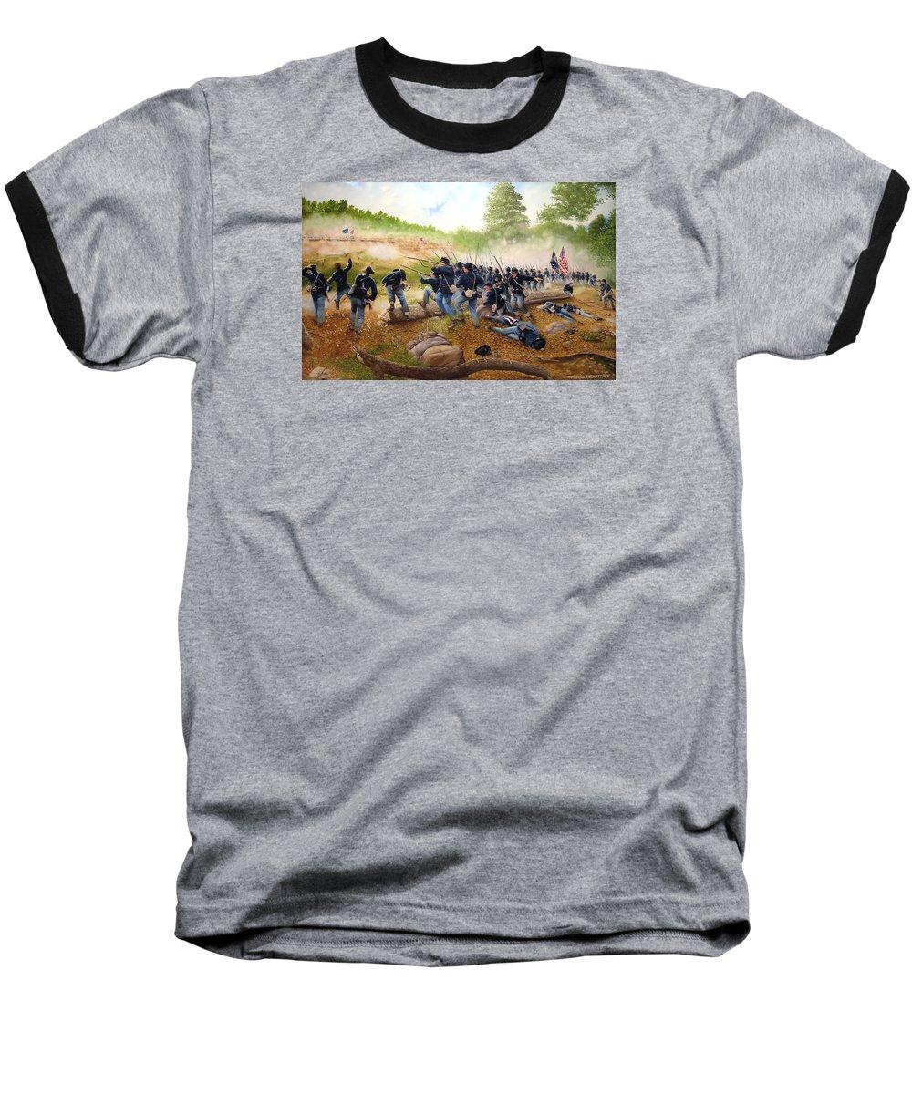 Civil War Baseball T-Shirt featuring the painting Battle Of Utoy Creek by Marc Stewart